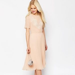 ASOS Lace and Pleat Skater Midi Dress Blush Size 4